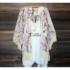 Womens Kimono Floral Loose Jacket Coat Cardigan Lace Chiffon Blouse Tops TXWD