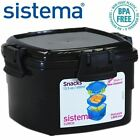 Sistema® Small Plastic Snack Breakfast Lunch Box with Clip Lid 400ml Black