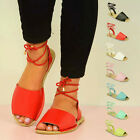 NEW WOMENS FLAT SANDALS LADIES LACE UP PEEP TOE MENORCAN SUMMER SHOES SIZE UK