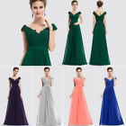 Women Long Bridesmaid Dress Cap Sleeve Evening Formal Dresses Homecoming Dress