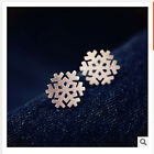 Rose Gold Plated Glossy/Frosted Stainless Steel Snowflake Edelweiss Stud Earring
