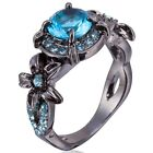 Size 4-12 Wedding Engagement Ring 10KT Blue Stone Anniversary Cluster Cocktail