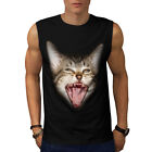 Crazy Cat Kitten Face Funny Head Men Sleeveless T-shirt S-2XL NEW | Wellcoda