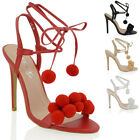 Womens High Stiletto Heel Pom Pom Strappy Tie Lace Up Ladie Party Sandals Shoe