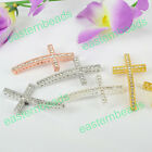 Curved Side Ways Crystal Rhinestones Cross Fit Bracelets Connector Loose Beads
