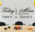 WALL QUOTE STICKERS TODAY'S MENU  KITCHEN VINYL WALL ART DECAL WALL QUOTES N80