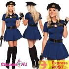 Ladies Navy Blue Police woman Costume Cops Uniform Policeman Hens Fancy Dress