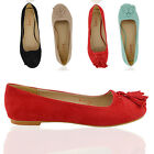 WOMENS FLAT TASSEL LOAFERS SLIP LADIES DOLLY PUMPS OFFICE SUMMER SHOES SIZE 3-8