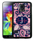 PERSONALIZED RUBBER CASE FOR SAMSUNG GALAXY S4 S5 S6 NAVY PINK PAISLEY