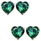 7mm Heart CZ Emerald Birthstone Gemstone Stud Earrings 14K White/Yellow Gold