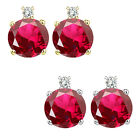 0.01 Carat TCW Diamond Round Ruby Gemstone Earrings 14K White Yellow Gold
