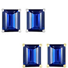 6mm Octogon CZ Sapphire Birthstone Gemstone Stud Earrings 14K White Yellow Gold