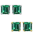6mm Princess CZ Emerald Birthstone Gemstone Stud Earrings 14K White Yellow Gold