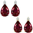 0.01 Carat TCW Diamond Pear Ruby Birthstone Stud Earrings 14K White Yellow Gold