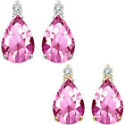 0.01 Carat Diamond Pear Pink Topaz Gemstone Earrings 14K White Yellow Gold