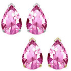8x5mm Pear CZ Pink Topaz Birthstone Gemstone Stud Earrings 14K White Yellow Gold