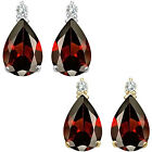 0.01 Carat TCW Diamond Pear Garnet Gemstone Earrings 14K White Yellow Gold