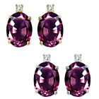 0.01 Carat Diamond Oval Alexandrite Gemstone Earrings 14KWhite Yellow Gold