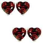 6mm Heart CZ Garnet Birthstone Gemstone Stud Earrings 14K White Yellow Gold
