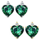 0.01 Carat TCW Diamond Heart Emerald Gemstone Earrings 14K White Yellow Gold