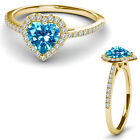 8MM Blue Topaz Birth Gem Stone Halo Solitaire Heart Love Ring 14K Yellow Gold
