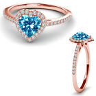 8MM Blue Topaz Birth Gem Stone Halo Solitaire Heart Love Ring 14K Rose Gold
