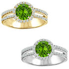 1.75 Carat Diamond Peridot GemStone Halo 14K White/Yellow Gold Promises Ring