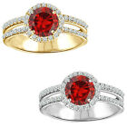1.75 Carat Diamond Garnet Birth Gem Stone Halo 14K White/Yellow Gold Bridal Ring