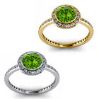 1.50 Carat Diamond Peridot GemStone Halo 14K Yellow-White Gold Promises Ring