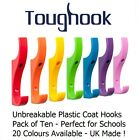 SUPER STRONG DURABLE COAT HOOK FOR SCHOOLS - Pack of Ten TOUGHOOKS - New Colours