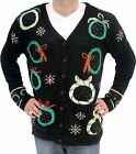 Adult Black UGLY Christmas Sweater Wreath Snow Flake Butt...