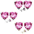 7mm Heart CZ Pink Topaz Birth Gemstone Stud Earring Silver 14k Gold Plated