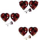 6mm Heart CZ Garnet Birth Gemstone Stud Earring Strling Silver 14k Gold Plated