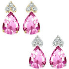 Pear Shape Pink Topaz Gem Birth stone Earrings Silver White/Yellow Gold Plated