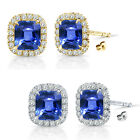 6mm Sapphire Birthstone Gem Stud Halo Solitaire Cushion Silver Earrings