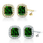 6mm Emerald Birthstone Gem Stud Halo Solitaire Cushion Silver Earring