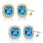 6mm Blue Topaz Birthstone Gem Stud Halo Solitaire Cushion Silver Earrings