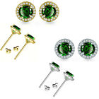 6mm Emerald Birthstone Gem Stud Halo Solitaire Round Silver Earring
