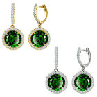 Emerald Birthstone Hoop Huggies Halo Solitaire Round Silver Dangling Earrings