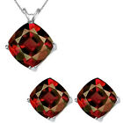 6mm Cushion CZ Garnet Birthstone Pendant Earring Set 14K White Yellow Gold