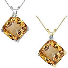 0.01 Carat TCW Diamond Cushion Citrine Gemstone Pendant 14K White Yellow Gold