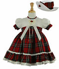 Red Tartan Scottish Check Baby Girl Party Occasion Christening Dress 0-24 Months