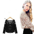 1PCS Women Sheer Sleeve Embroidery Top Blouse Lace Crochet Tee Top Blouse Shirt