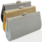 New Womens Evening Bag Diamante Ladies Crystal Shoulder Clutch Party Prom Bridal