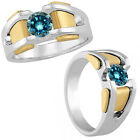 1 Carat Blue Diamond Designer Fancy Solitaire Mens Ring 14K White Yellow Gold
