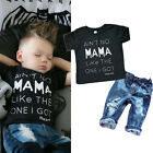 Newborn Infant Kid Baby Boy Girl Clothes T-shirt Top Tee Denim Pants Outfits Set