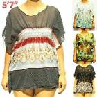 NWT XS/S/M NEW Print Chiffon See-Through Short Sleeve Cover-up Beach Tops Blouse