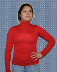 Women Seamless Stretch Long Sleeve Mock Neck Turtleneck Blouse Top one size $$