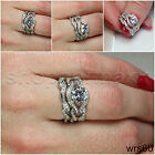 STERLING SILVER 925 BRAND NEW NICKEL FREE ENGAGEMENT & WEDDING RING SET-SIZE 5-9