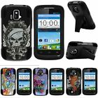 For ZTE Sonata| ZTE Radiant| Hybrid Hard Bumper Stand Case Black